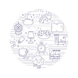 Healthy sleep and insomnia icons inside the circle. Royalty Free Stock Image
