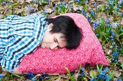Healthy sleep. Man. Pillow. Flowers Stock Photos