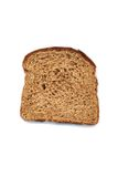 Healthy slice of wheat bread. Slice of wheat bread isolated in white Stock Photography