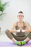 Healthy slim girl meditating Royalty Free Stock Photo