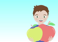 Healthy smiling boy with apples. Happy healthy boy holding red and green apple with blue background, vector Royalty Free Stock Images