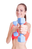Healthy smiling girl workout with dumbbell Stock Image