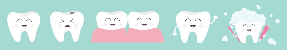 Healthy smiling white tooth icon set line. Toothbrush toothpaste bubble foam. Crying bad ill teeth.Before after concept. Cute vector illustration