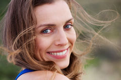 Healthy smiling woman outside Royalty Free Stock Photography