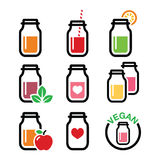 Healthy smoothie drink, juice in jar icons set Royalty Free Stock Photography