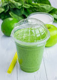 Healthy smoothie with green apple, spinach, lime and coconut milk Royalty Free Stock Images