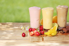 Healthy smoothie milkshake drinks Royalty Free Stock Images