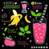 Healthy smoothie recipe set. Royalty Free Stock Photos