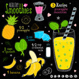 Healthy smoothie recipe set. Stock Image