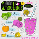 Healthy smoothie recipe set. With illustration of ingredients, glass, stars, hearts and vitamin. Hand drawn in sketch style. Beetroot smoothies, cucumber, beet Royalty Free Stock Image