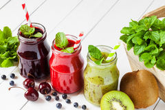 Healthy smoothie from summer fruits and berries Stock Photography
