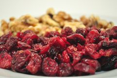 Healthy Snack. Dried Cranberries with walnuts in the background present themselves as a healthy snack stock photography