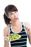 Healthy snack. Portrait of a girl having a healthy diet snack Royalty Free Stock Photo