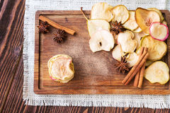 Healthy snack. Apple and pear dried chips Royalty Free Stock Image