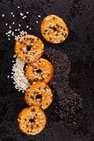 Crackers with white and black sesame seeds. Stock Photos