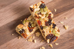 Healthy Snack, Cereal granola bars with nuts and dried fruit. Royalty Free Stock Photo