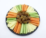 Platter of Sultanas, Celery, Carrot and Cheese Sti Stock Photos