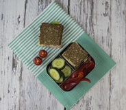 Healthy snack in a lunchbox Royalty Free Stock Photography