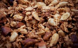 Healthy Snack, Meal. Freshly Toasted Organic Homemade Granola Cereal, Muesli Mixed With Honey, Nuts.  stock image