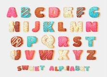 English sweet donut alphabet abc Greeting party vector font.Children`s Alphabet. Alphabetical set in bakery doughnuts style. Alphabet. Alphabetical set in stock illustration