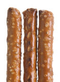 Healthy Snack, Pretzels. Three rod pretzels with salt Stock Photos
