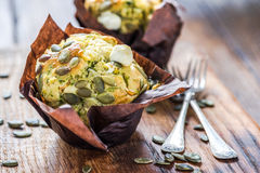 Healthy snack, pumpkin and feta muffin. Healthy snack, pumpkin seed and feta muffin Royalty Free Stock Photo