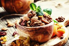 Free Healthy Snack: Raw Nuts And Dried Fruit, Decorated With Mint. Vi Stock Photography - 122130952