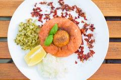 Healthy snack, salmon tartar Royalty Free Stock Photo