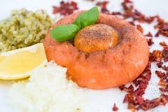 Healthy snack, salmon tartar Royalty Free Stock Photography
