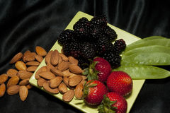 Healthy Snack on Square Plate Royalty Free Stock Image