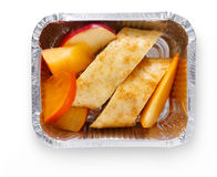 Healthy snack in take away box. Dietary dessert with fresh fruits Royalty Free Stock Photos