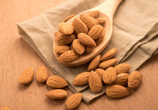 Healthy snack whole almond nut kernels Stock Photography