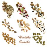 Healthy Snacking Food Collection. Healthy snacking collection isolated on white. Includes seeds, nuts, trail mix, sweet potato fries, vegetable crisps and carrot Royalty Free Stock Images