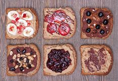 Healthy desserts on whole grain toast stock images