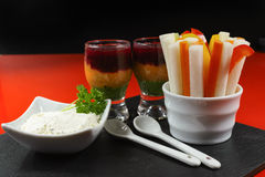 Healthy snacks - four colorful vegetable mousses Royalty Free Stock Images