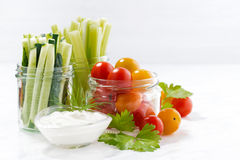 healthy snacks, mixed fresh vegetables and yogurt Stock Image