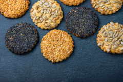 Healthy snacks with seeds, food background from above Royalty Free Stock Photography