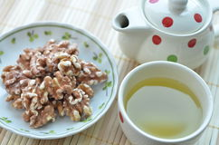 Healthy Snacks (Walnut and Green Tea) Stock Images