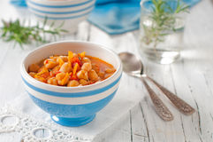 Soup with chick-pea. Healthy Soup with chick-pea and tomato Royalty Free Stock Photo