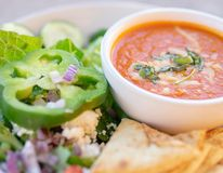 Healthy soup and salad, Tomato Soup stock photo