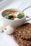 Healthy soup with wholemeal bread Royalty Free Stock Images