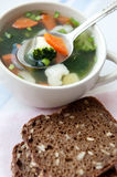 Healthy soup with wholemeal bread Stock Photo