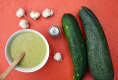 Zucchini soup. Healthy soup with zucchini and garlic Royalty Free Stock Photography