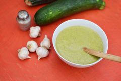 Zucchini soup. Healthy soup with zucchini and garlic Stock Images
