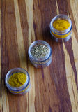 Healthy Spices. Turmeric, Fennel Seed, and Curry Stock Photo
