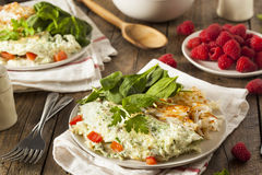 Healthy Spinach Egg White Omelette. With Tomatos Royalty Free Stock Images