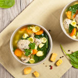 Healthy Spinach Soup with meatball soup Royalty Free Stock Photos