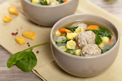 Healthy Spinach Soup with meatball soup Royalty Free Stock Image