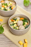 Healthy Spinach Soup with meatball soup Royalty Free Stock Images