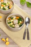 Healthy Spinach Soup with meatball soup Royalty Free Stock Photography